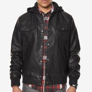 Sean John Men's Faux-Leather Hooded Black Jacket